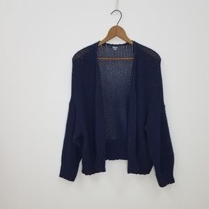 Aerie Navy Blue Open Front Slouchy Cardigan- LG